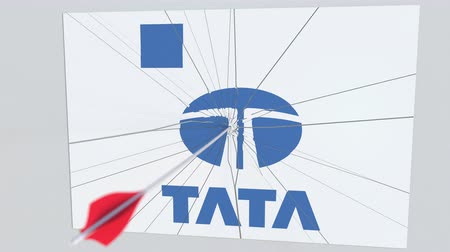 criticism : Archery arrow hits plate with TATA logo. Corporate problems conceptual editorial animation