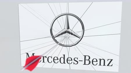 criticism : MERCEDES-BENZ company logo being cracked by archery arrow. Corporate problems conceptual editorial animation