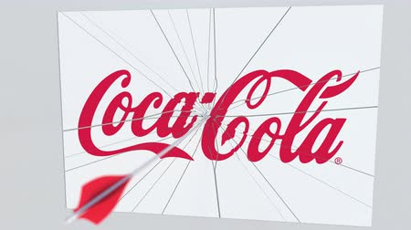 criticism : COCA-COLA company logo being cracked by archery arrow. Corporate problems conceptual editorial animation