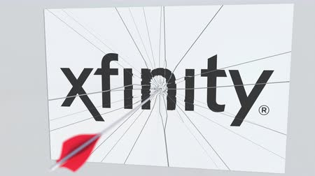 criticism : XFINITY company logo being cracked by archery arrow. Corporate problems conceptual editorial animation