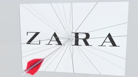 criticism : ZARA company logo being cracked by archery arrow. Corporate problems conceptual editorial animation