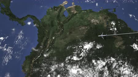 bogota : Route of a commercial plane flying to Bogota, Colombia on the map, 3D animation Stock Footage