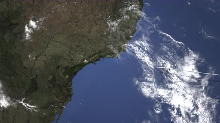 brazil : Route of a commercial plane flying to Sao Paulo, Brazil on the map, 3D animation