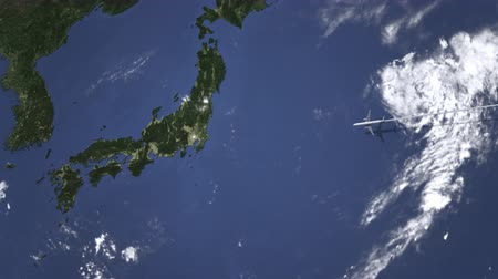 bilet : Airliner flying to Tokyo, Japan from east, 3D animation
