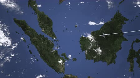 orta hava : Airliner flying to Singapore from east, 3D animation