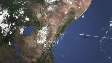 adresse : Commercial airplane flying to Nairobi, Kenya, 3D animation