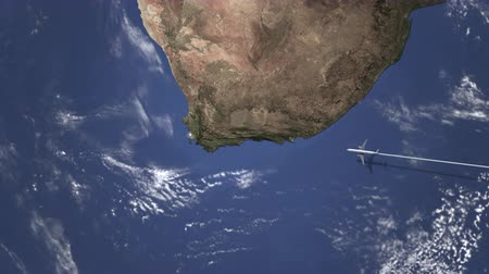 адрес : Airplane flying to Cape Town, South Africa on the map, 3D animation