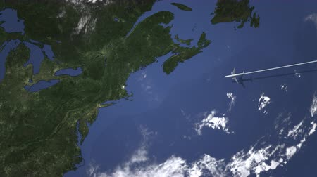 Бостон : Airliner flying to Boston, United States from east, 3D animation