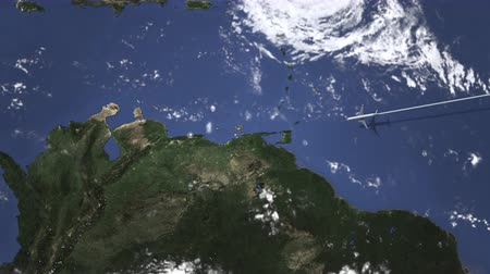 adresa : Airplane flying to Caracas, Venezuela on the map, 3D animation