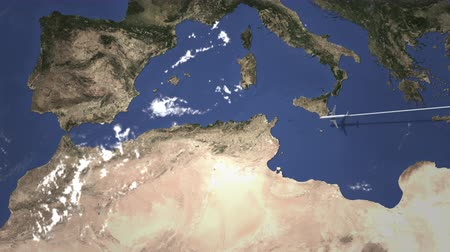 bilet : Route of a commercial plane flying to Algiers, Algeria on the map, 3D animation