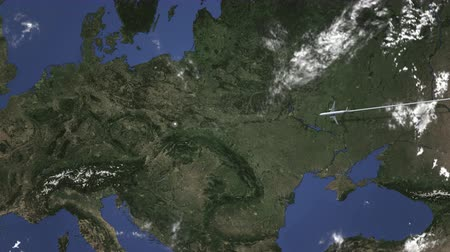 katowice : Airplane flying to Katowice, Poland from east, 3D animation Wideo