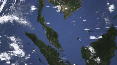 bilet : Commercial plane arrives to George town, Malaysia, 3D animation