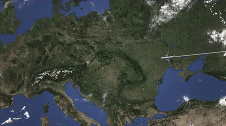 avusturya : Commercial airplane flying to Vienna, Austria, 3D animation Stok Video