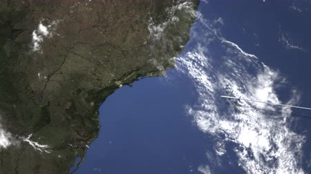 brasil : Airplane flying to Santos, Brazil on the map, 3D animation