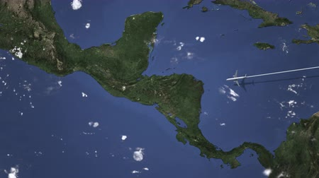 orta hava : Airplane flying to Guatemala City, Guatemala on the map, 3D animation Stok Video