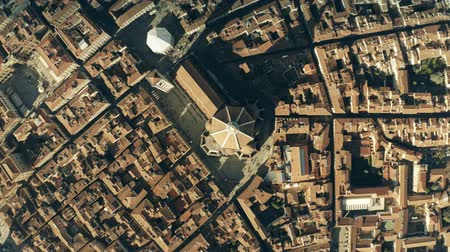 symbolic : Aerial top down view of famous Florence Cathedral or Cattedrale di Santa Maria del Fiore, main city landmark. Italy