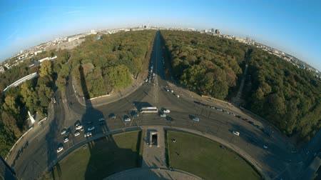 point of interest : Brandenburg Gate and TV Tower and Victory column shadow, fisheye lens shot. Berlin, Germany