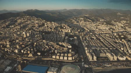 набережная : Aerial view of cityscape of Genoa in the evening, Italy