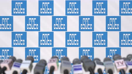 утверждение : CHINA STATE CONSTRUCTION company press conference, press wall with logo and mics, conceptual editorial animation