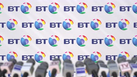 press wall : BRITISH TELECOM company press conference, press wall with logo and mics, conceptual editorial animation