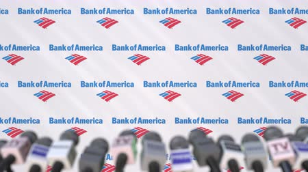 press conference : Press conference of BANK OF AMERICA, press wall with logo and microphones, conceptual editorial animation