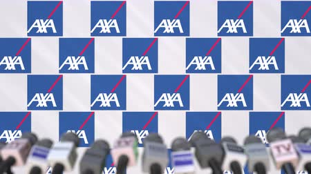 declaring : Press conference of AXA, press wall with logo and microphones, conceptual editorial animation Stock Footage