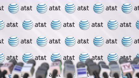 declaring : Media event of ATT, press wall with logo and microphones, editorial animation Stock Footage