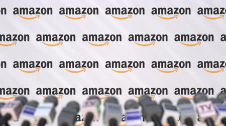 press wall : AMAZON company press conference, press wall with logo and mics, conceptual editorial animation