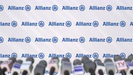 press wall : Press conference of ALLIANZ, press wall with logo and microphones, conceptual editorial animation