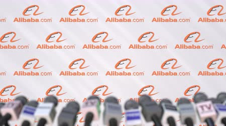 declaring : ALIBABA company press conference, press wall with logo and mics, conceptual editorial animation Stock Footage