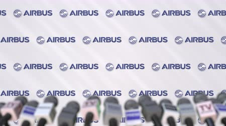 press wall : Press conference of AIRBUS, press wall with logo and microphones, conceptual editorial animation