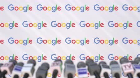 press wall : Press conference of GOOGLE, press wall with logo and microphones, conceptual editorial animation Stock Footage
