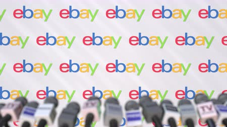 ebay : EBAY company press conference, press wall with logo and mics, conceptual editorial animation