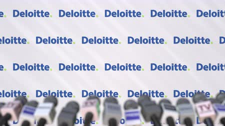 press wall : DELOITTE company press conference, press wall with logo and mics, conceptual editorial animation