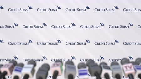 credit suisse : CREDIT SUISSE company press conference, press wall with logo and mics, conceptual editorial animation Stock Footage