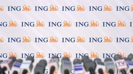 ing : Media event of ING, press wall with logo and microphones, editorial animation