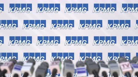 dekking : KPMG company press conference, press wall with logo and mics, conceptual editorial animation
