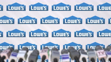 declaring : Media event of LOWES, press wall with logo and microphones, editorial animation