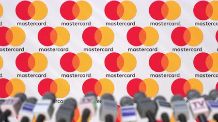 press wall : MASTERCARD company press conference, press wall with logo and mics, conceptual editorial animation Stock Footage