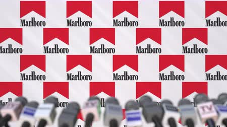 press wall : News conference of MARLBORO, press wall with logo as a background and mics, editorial animation Stock Footage