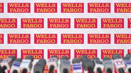 declaring : WELLS FARGO company press conference, press wall with logo and mics, conceptual editorial animation