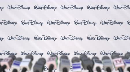 press wall : Press conference of WALT DISNEY, press wall with logo and microphones, conceptual editorial animation