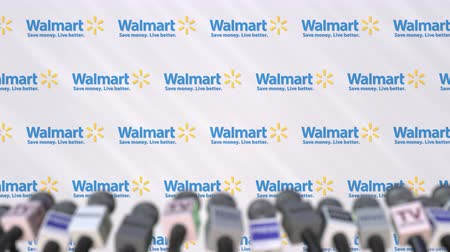 press wall : Media event of WALMART, press wall with logo and microphones, editorial animation