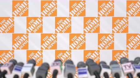 press wall : THE HOME DEPOT company press conference, press wall with logo and mics, conceptual editorial animation Stock Footage