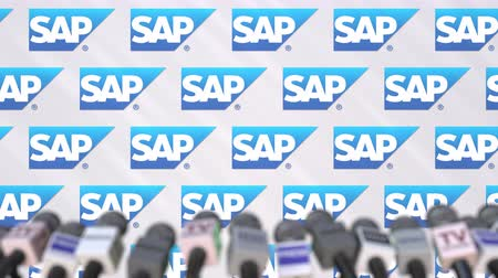 declaring : SAP company press conference, press wall with logo and mics, conceptual editorial animation Stock Footage
