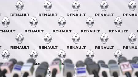 declaring : Press conference of RENAULT, press wall with logo and microphones, conceptual editorial animation