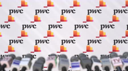 pwc : Media event of PWC, press wall with logo and microphones, editorial animation Stock Footage