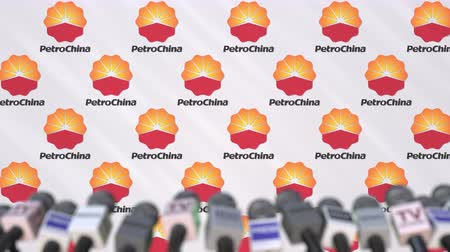 press wall : Press conference of PETROCHINA, press wall with logo and microphones, conceptual editorial animation Stock Footage