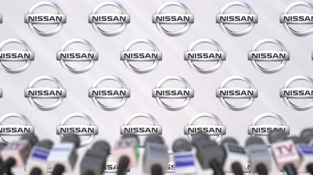declaring : Media event of NISSAN, press wall with logo and microphones, editorial animation