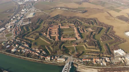bástya : Aerial shot of star shaped Citadel or Cittadella of Alessandria. Piedmont, Italy Stock mozgókép